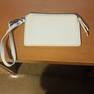 Cole Haan White Leather Wristlet